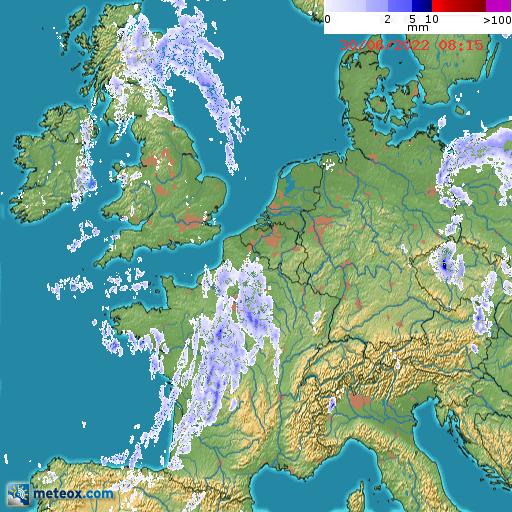 Localisation des zones de précipitations